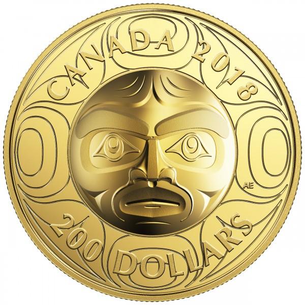 200 Dollar Gold Proof Ultra-High Relief Ancestor Moon Mask Kanada 2018