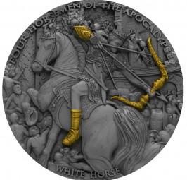2 Oz Silber Antique Finish Four Horsemen of the Apocalypse - White Horse 5$ Niue 2018