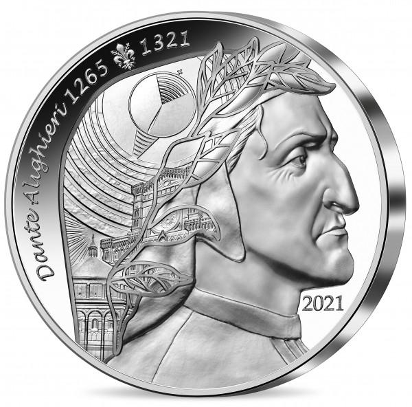 Dante Alighieri - Art of the Pen - 20 Euro Silver Proof France 2021 France L´art de la plume