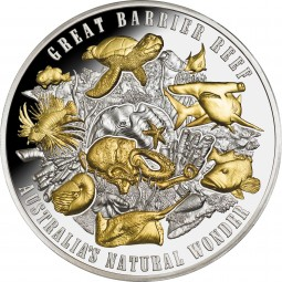 5 Oz Silber Proof Gilded Australia's Natural Wonder: Great Barrier Reef 2018 Niue 10$