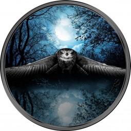 3 Unzen Silber Eule / Owl - Night Hunters Elfenbeinküste 2017