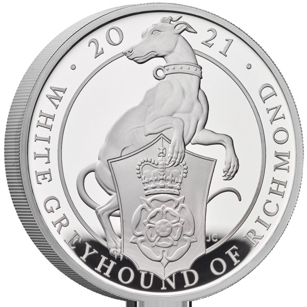 1 Unze Silber Proof Queens Beasts White Greyhound of Richmond 2 £ United Kingdom 2021