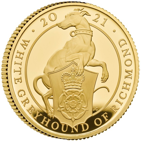 1/4 Oz Gold Proof Queens Beasts White Greyhound of Richmond 25 £ Pfund United Kingdom 2021