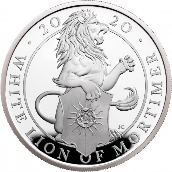 1 Unze Silber Proof Queens Beasts The White Lion of Mortimer 2 £ United Kingdom 2020